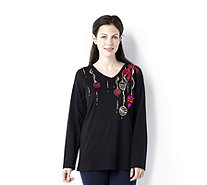 Quacker Factory Baubles and Bows Long Sleeve V-Neck Top - 129145