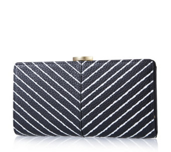 Lulu Guinness Frame Stripe Leather Purse - 167845