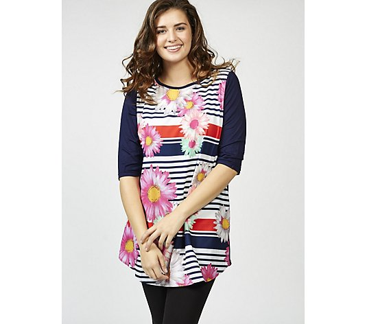 Butler & Wilson Stripey Flower Boat Neck Top