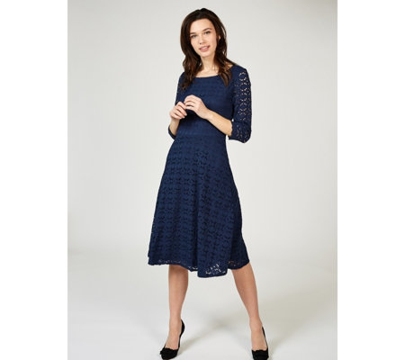 Ronni Nicole 3/4 Sleeve Lace Fit & Flare Midi Dress