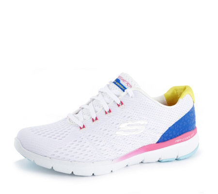 Skechers Flex Appeal 3.0 Multi Coloured Lace Up Trainer