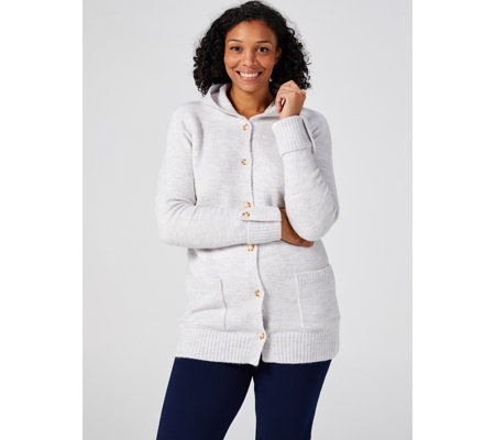 Denim & Co. Button Front Long Sleeve Hooded Sweater