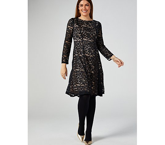 Perceptions Lace Dress with Straight Sleeve to Wrist