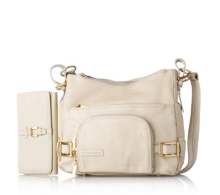 Stone Mountain Leather Multi Pocket Handbag Purse Set Qvc Uk