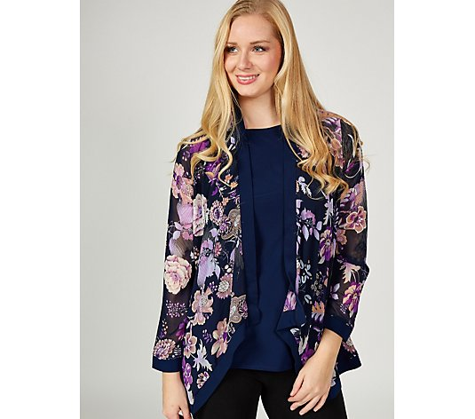 Antthony Designs Printed Waterfall Jacket & Sleeveless Top Set