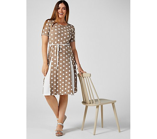Elbow Sleeve Printed Solid Godet Midi Dress Short by Nina Leonard