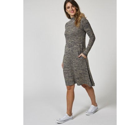Mock Neck Marl Trapeze Dress by Nina Leonard