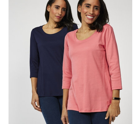 Isaac Mizrahi Live Essentials 2 Pack 3/4 Sleeve Silky Cotton Tops