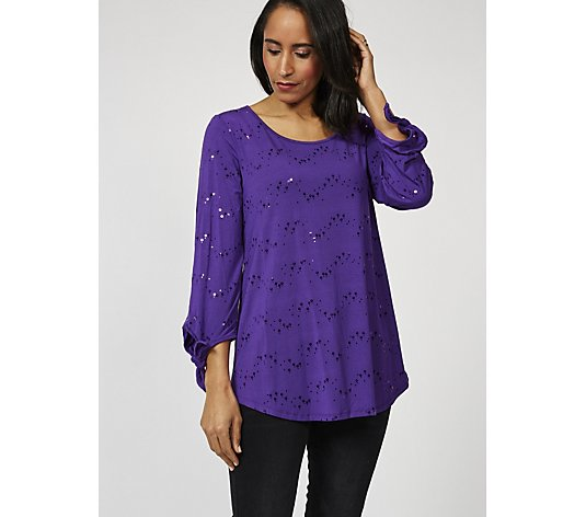Antthony Designs 3/4 Sleeve Embellished Tunic with Hi Lo Curved Hem