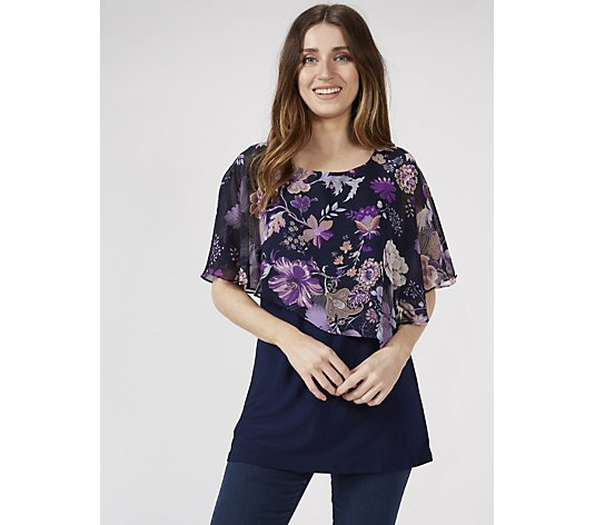 Antthony Designs Printed Chiffon Overlay Top