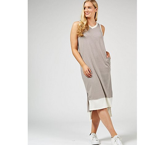 Modern Soul Loungewear Petite Rib Trim Maxi Tank Dress