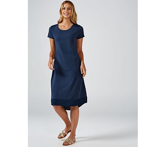 H by Halston Scoop Neck Short Sleeve High Low Midi Dress Regular