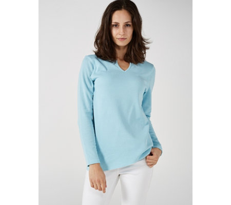 Denim & Co. Waffle Knit Crossover Top with Seam Detail