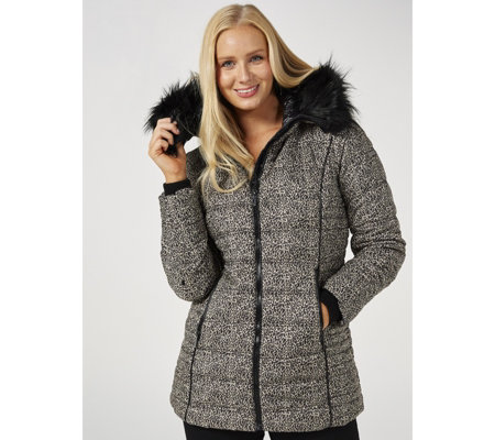 Centigrade Quilted Hooded Coat with Faux Fur Trim