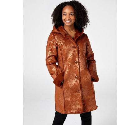 Dennis Basso Printed Faux Shearling Coat w/Hood