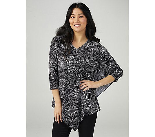 Attitudes by Renee 3/4 Sleeve  Layered Printed  Overlay Tunic