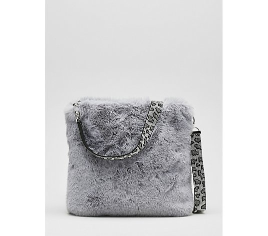 Frank Usher Faux Fur Zip Up Crossbody Bag with  Detachable Crystal Strap