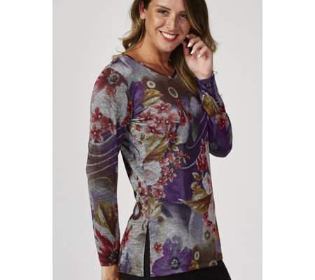Mr Max Floral Printed Knit Long Sleeve Tunic