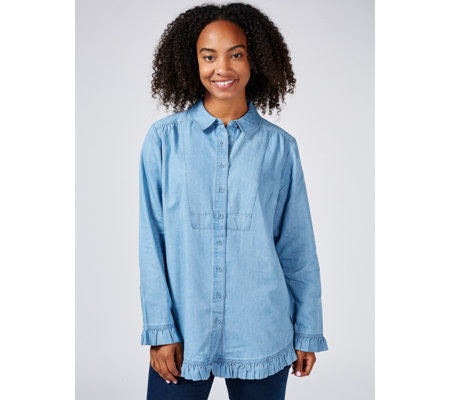 Isaac Mizrahi Live Denim Chambray Shirt Ruffle Detail
