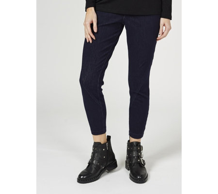 H by Halston Knit Stretch Denim Trousers with Seam Detail Petite