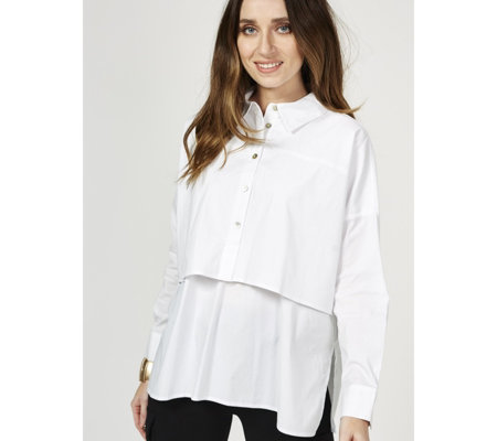 MarlaWynne Poplin Shirt with Front Seam Detail