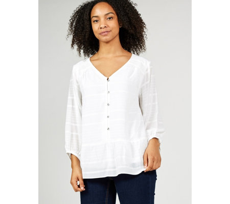 H by Halston Striped Button Front Top with Blouson Sleeves