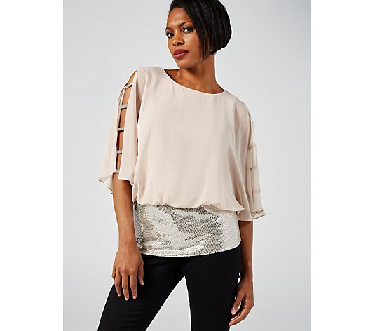 Coco Bianco Chiffon Overlay Top with Sequin Band