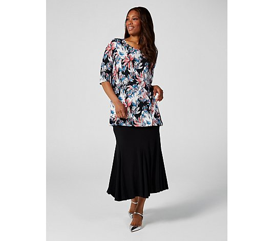 Artistic Bloom Elbow Sleeve Tunic by Michele Hope