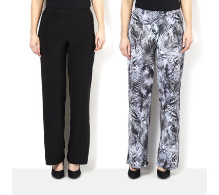 Outlet Attitudes by Renee Pack of Print & Plain Jersey Wide Leg Trousers