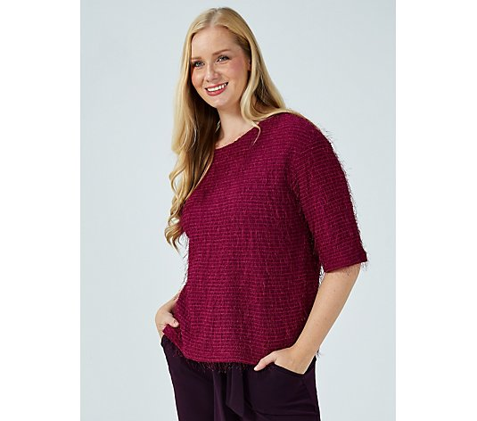 Kim & Co Eyelash Knit Elbow Sleeve Relaxed Fit Top
