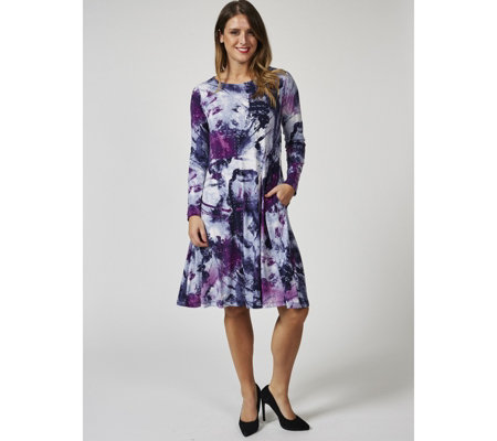 Long Sleeve Printed Trapeze Dress by Nina Leonard