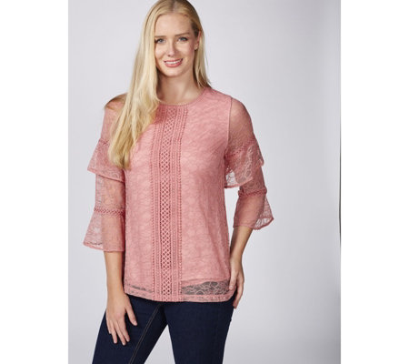 Isaac Mizrahi Live Stretch Chantilly Lace Ruffled Sleeve Top