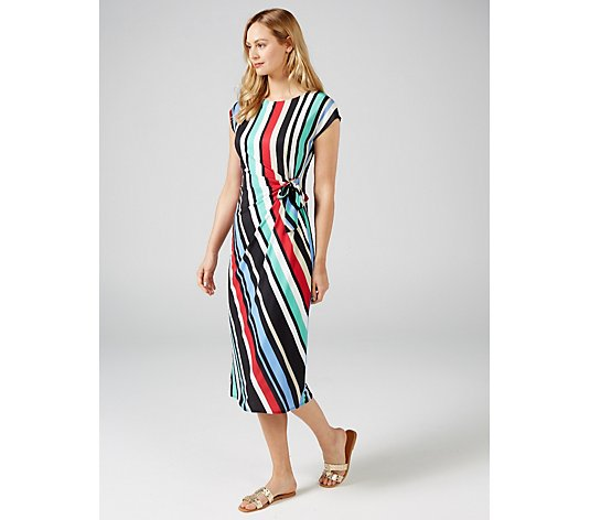 Ben de Lisi Printed Jersey Midi Dress with Side Tie Detail
