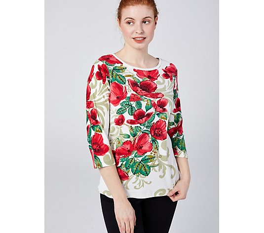 Artscapes Rose Bloom Placement 3/4 Crew Neck Top