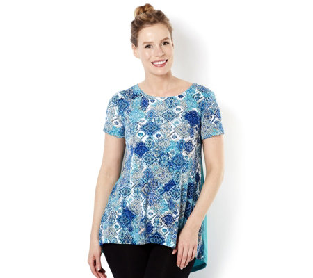 Short Sleeve Printed & Solid Drape Back Top by Nina Leonard
