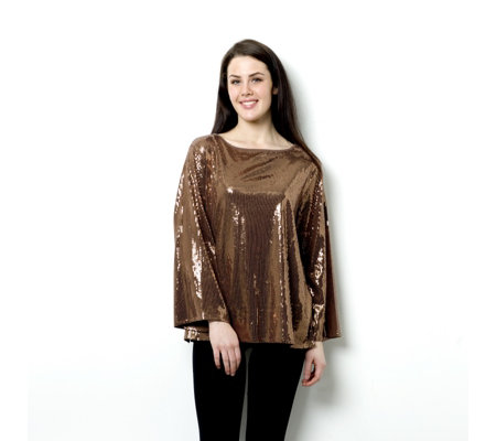 Outlet Diane Gilman Jersey Sequin Front Top