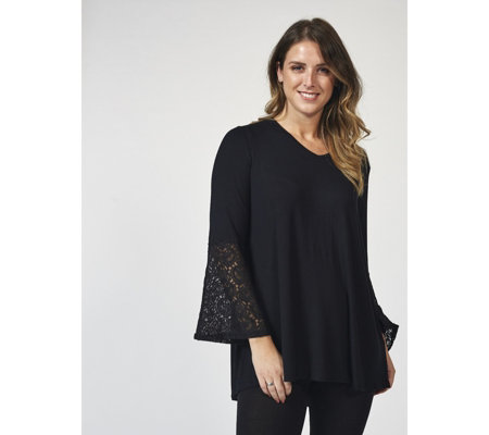 Antthony Designs 3/4 Dolman Sleeve Top with Lace Cuffs & Hi-Lo Hem
