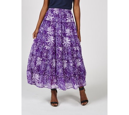 Antthony Designs Printed Chiffon Tiered Skirt