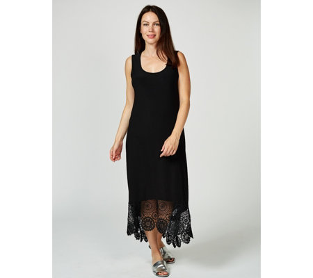 Regular Sleeveless Dress with Hi Lo Crochet Trim Hem by Nina Leonard