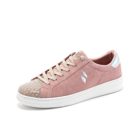 Skechers Street Suede And Sparkle Lace Up Trainer