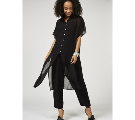 WynneLayers Chiffon Duster Shirt