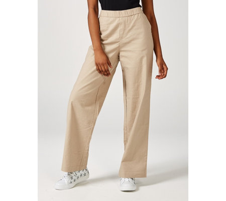 H by Halston Linen Full Length Wide Leg Pull On Trousers