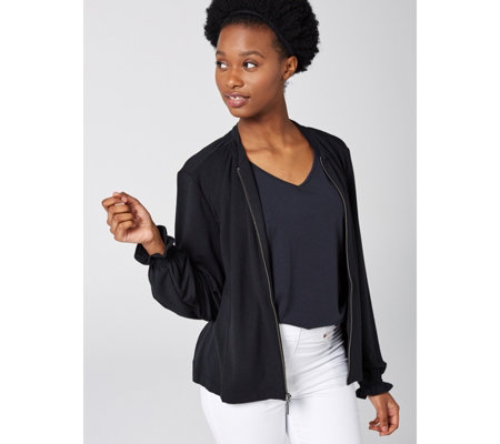 H by Halston French Terry Bomber Jacket with Smocking Detail