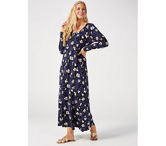 Kim & Co Printed Brazil Jersey Long Sleeve Maxi Dress