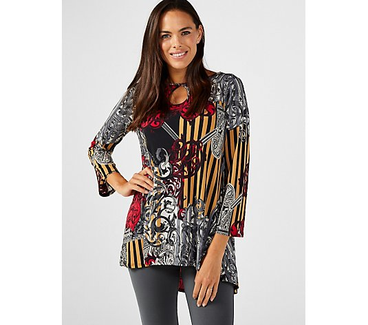 Attitudes by Renee Printed Jersey Keyhole Hi-Lo Tunic