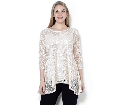 Attitudes by Renee Crochet Lace Dip Back Tunic Top