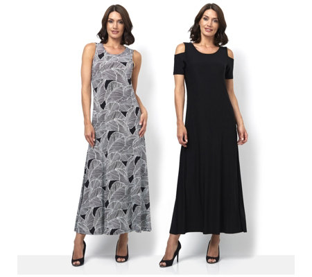 Attitudes by Renee Print & Plain 2Pack Maxi Dress Petite Length