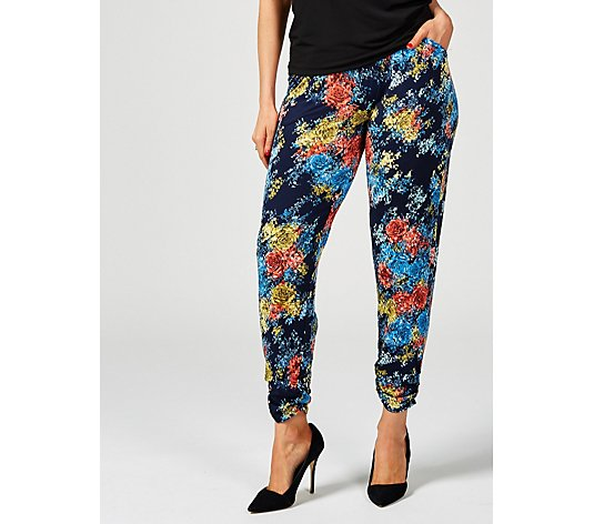 Antthony Designs Printed Pull On Trousers with Ruched Hem