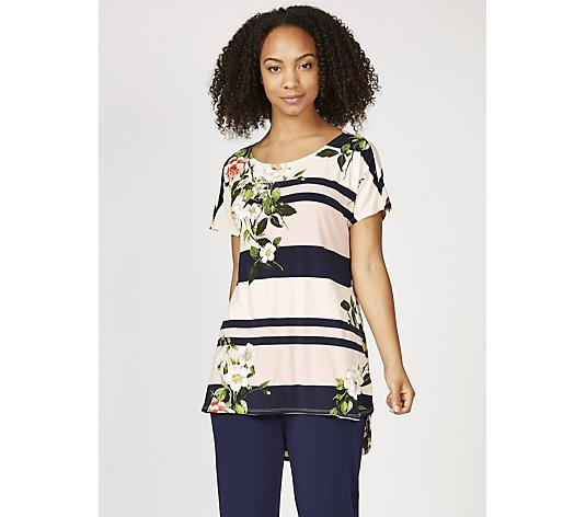 Short Sleeve Printed Top with Cowl Back Detail by Nina Leonard