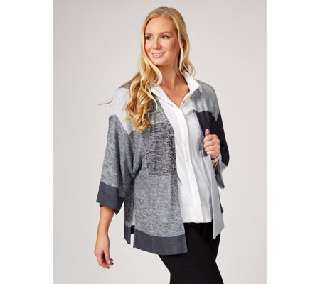 MarlaWynne Colour Block Shawl Collar Cardigan